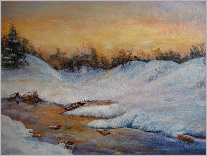 tableau-oeuvre-valee-ruisseau-neige-blanche